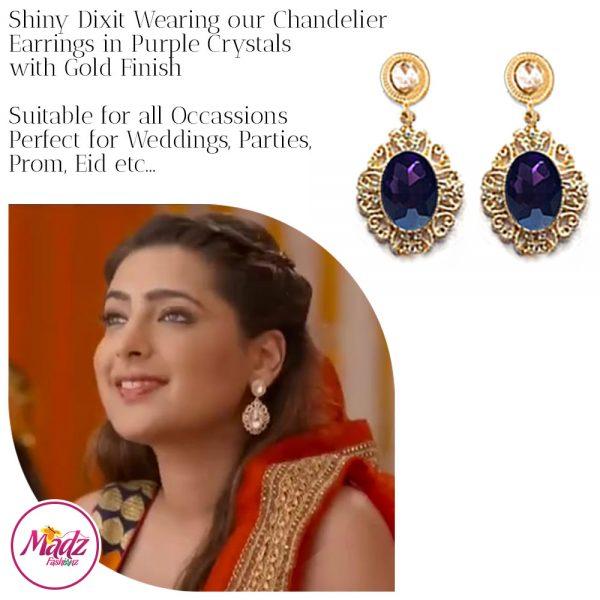 Madz Fashionz USA: Shiny Dixit Chandelier Earrings Zindagi Ki Mehek Gold Purple