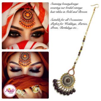 Madz Fashinz USA: Beautydosage Vintage Bridal Maang Tikka Gold Brown Champagne 2