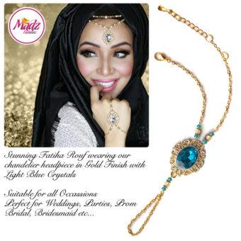 Madz Fashionz USA Fatiha World Chandelier Handpiece Slave Bracelet Gold and Light Blue