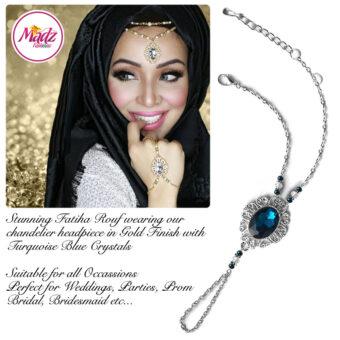 Madz Fashionz USA Fatiha World Chandelier Handpiece Slave Bracelet Silver and Turquoise Blue