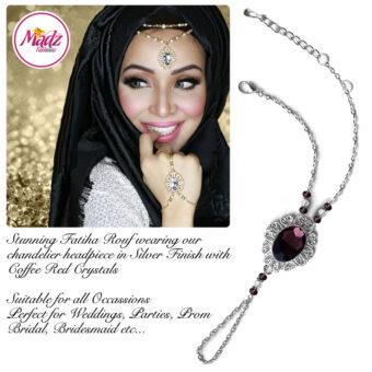 Madz Fashionz USA Fatiha World Chandelier Handpiece Slave Bracelet Silver and Coffee Red
