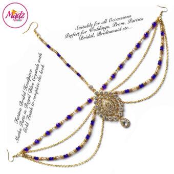 Madz Fashionz USA: Fatima Traditional Royal Blue Bridal Chandelier Matha Patti