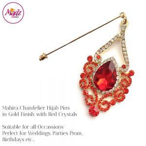 Madz Fashionz USA: Mahira Exquisite Nawab Bridal Hijab Pins, Hijab Jewels Gold Red