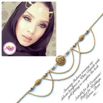 Madz Fashionz USA: Shahara Bespoke Crystal Headpiece Matha Patti Gold White