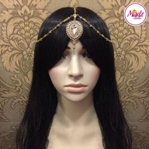 Madz Fashionz USA: Aairah Bespoke Matha Patti Headpiece Gold White Hair Tikka 2