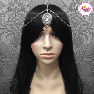 Madz Fashionz USA: Aairah Bespoke Matha Patti Headpiece Silver White Maang Tikka Head Gear 2