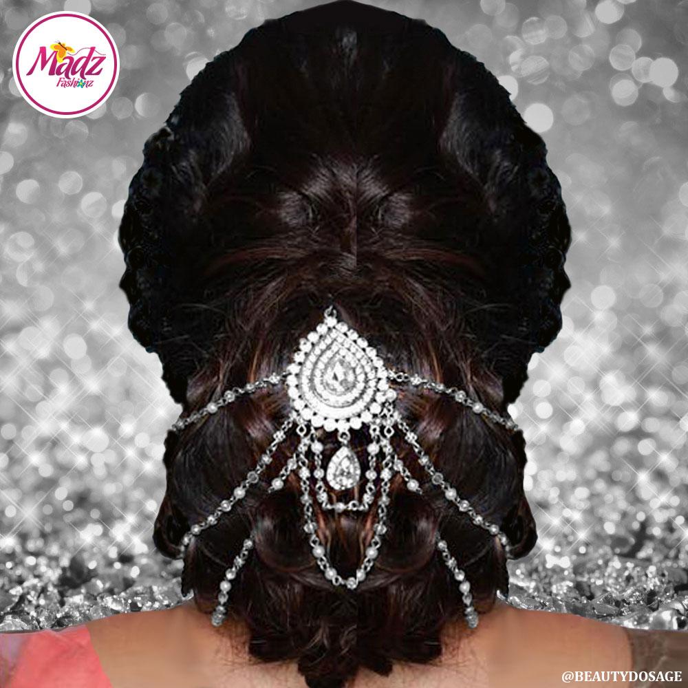 Madz Fashionz Usa Beautydosage Bridal Hair Bun Headpiece Jodha Silver