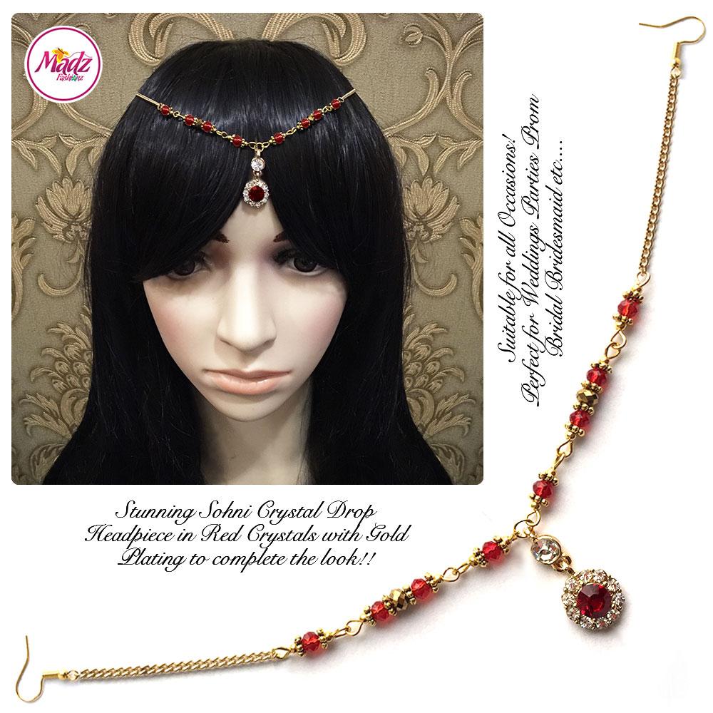 Madz Fashionz USA: Sohni Crystal Matha Patti Headpiece Gold Red