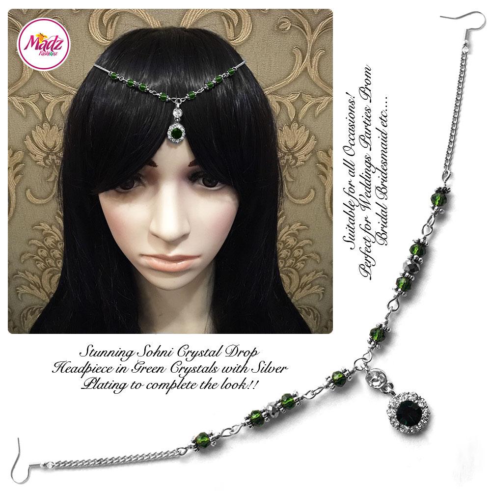 Madz Fashionz USA: Sohni Crystal Matha Patti Headpiece Silver Green