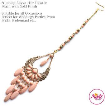 Madz Fashionz USA: Aliyza Hair Tikka Maang Tikka Matha Patti Gold Peach