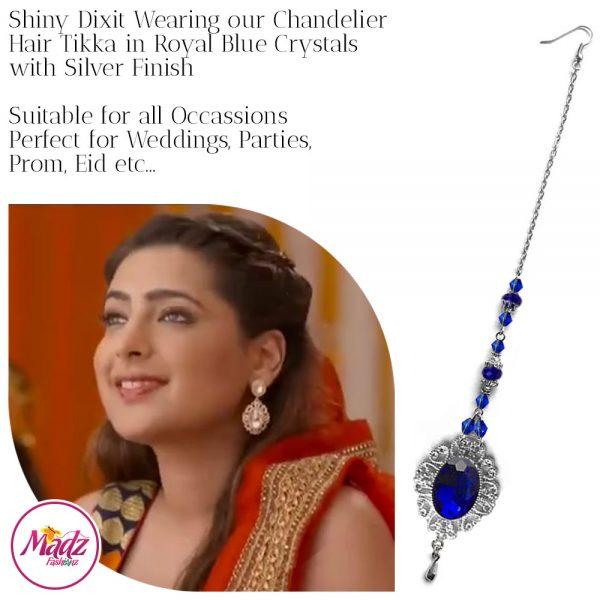 Madz Fashionz USA: Shiny Dixit Chandelier Maang Tikka Hair Tikka Zee Tv ZKM Silver royal Blue