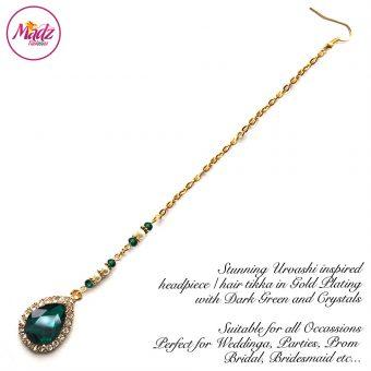 Madz Fashionz USA: Urvashi Rautela Kundan Crystal Stones Gold Maang Tikka Hair Tikka Gold Dark Green