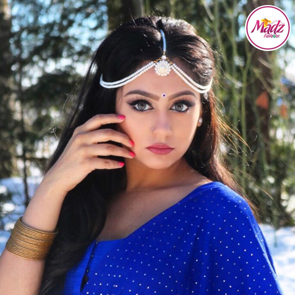 Madz Fashionz USA Sanya Ratanpal Kundan Headpiece Matha Patti Gold Pearled