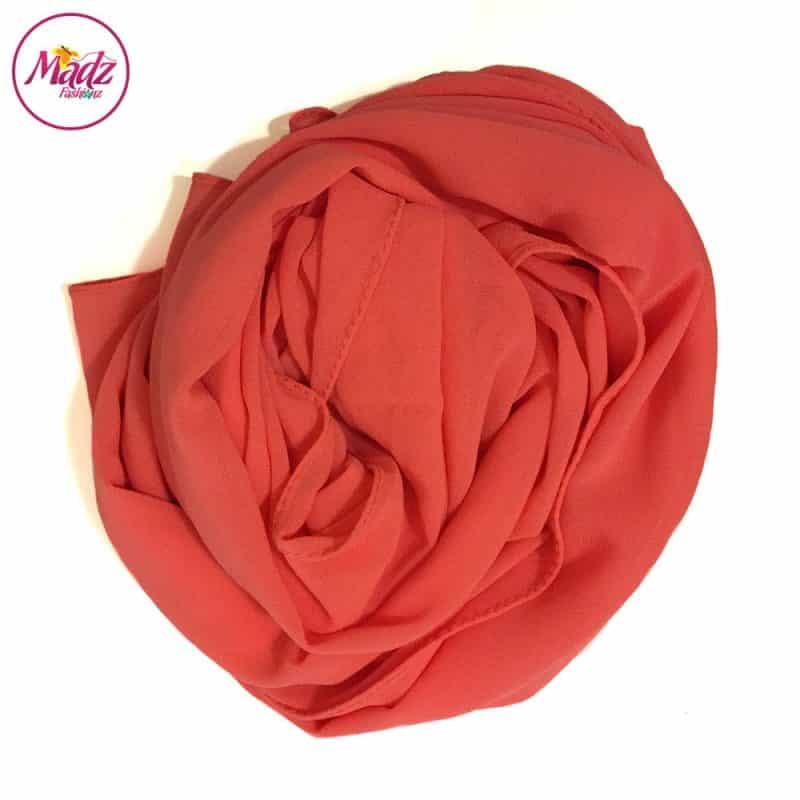 Long Plain Chiffon Coral Muslim Hijabs Scarves Shawls