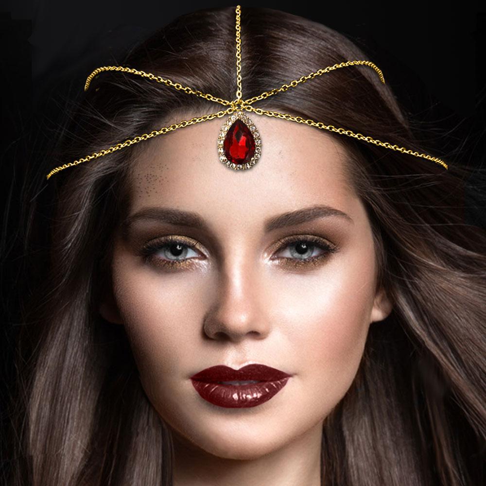 Chain Headpiece , Gold Matha Patti , Silver Hair Jewellery – Khadija Headpiece