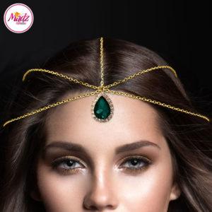 Madz Fashionz UK Gold and Green Hair Jewellery Headpiece Matha Patti