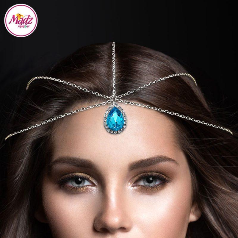 Madz Fashionz UK Silver and Light Sky Blue Hair Jewellery Headpiece Matha Patti