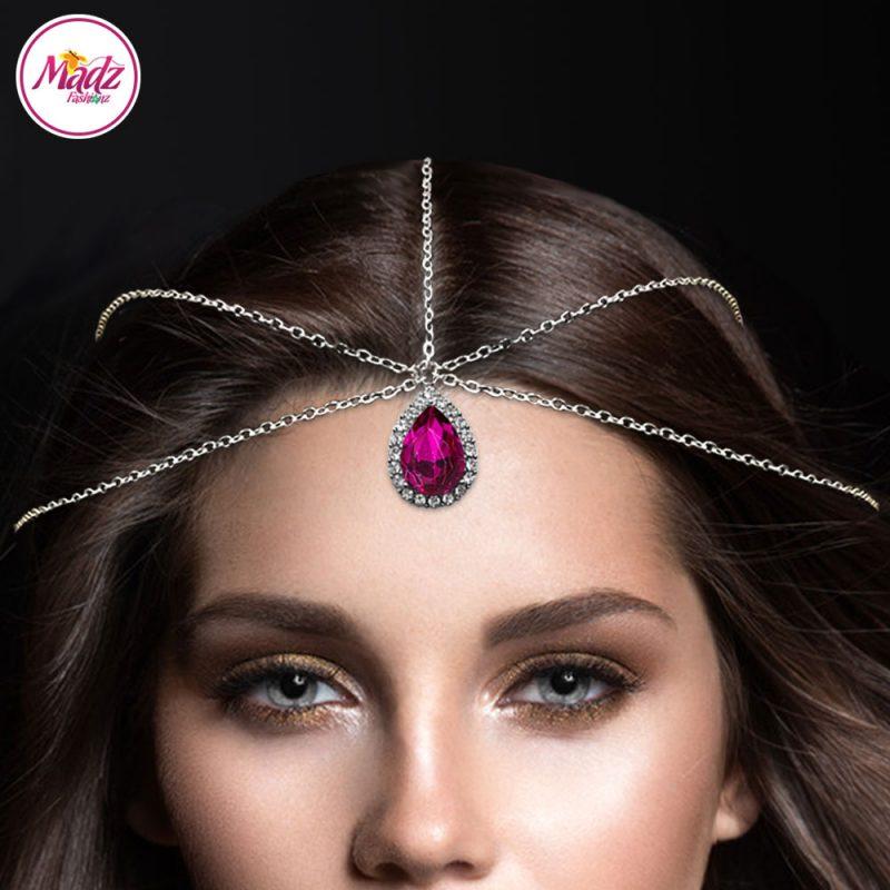 Madz Fashionz UK Silver and Shocking Pink Hair Jewellery Headpiece Matha Patti