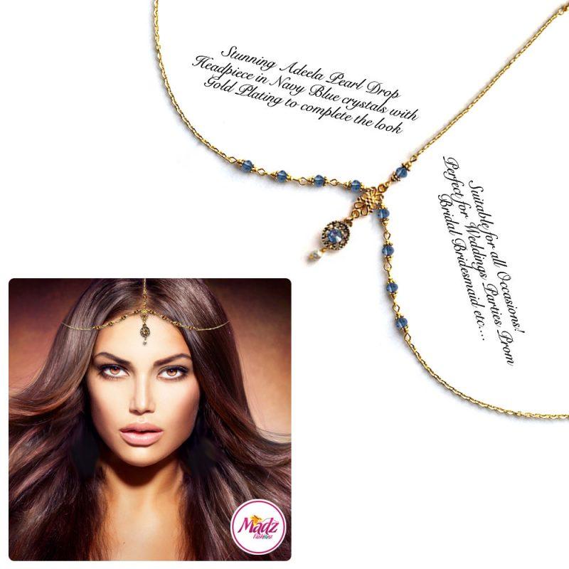 Madz Fashionz UK: Adeela Pearl Drop Gold Headpiece Matha Patti Tikka Antique Gold Navy Blue