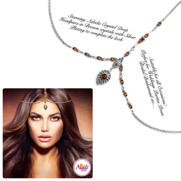 Madz Fashionz UK: Adeela Crystal Drop Headpiece Matha Patti Silver Brown