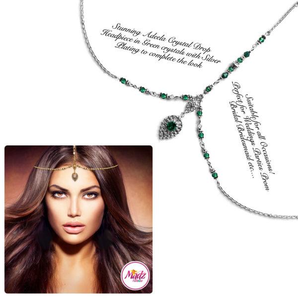 Madz Fashionz UK: Adeela Crystal Drop Headpiece Matha Patti Silver Dark Green