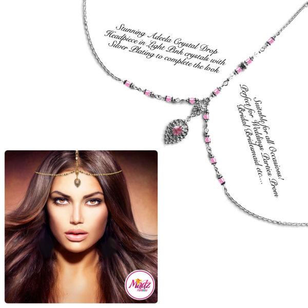 Madz Fashionz UK: Adeela Crystal Drop Headpiece Matha Patti Silver Light Pink