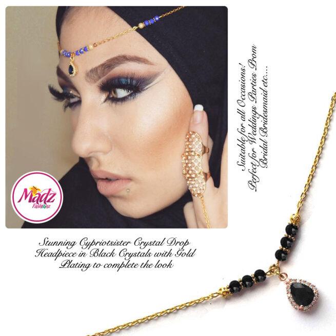 Madz Fashionz UK: Gold Maang Tikka Matha Patti Hair Chain Headpiece Gold Black
