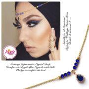Madz Fashionz UK: Gold Maang Tikka Matha Patti Hair Chain Headpiece Gold Royal Blue