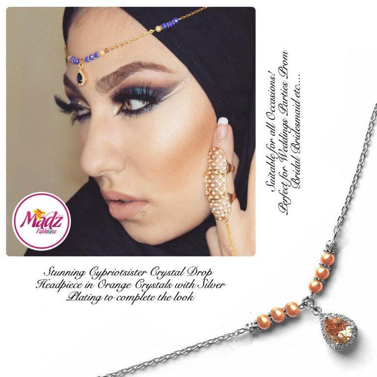 Madz Fashionz UK: Gold Maang Tikka Matha Patti Hair Chain Headpiece Silver Orange