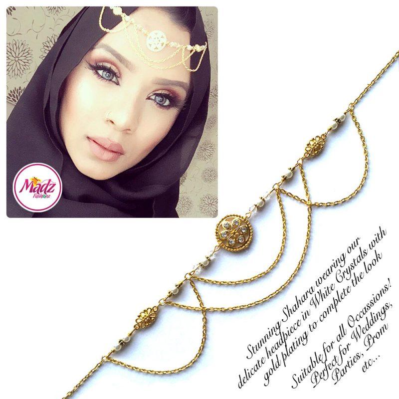 Madz Fashionz UK: Shahara Bespoke Crystal Headpiece Matha Patti Gold White