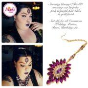 Madz Fashionz UK: Chandelier gold pink Maang Tikka Headpiece song178bird21 2