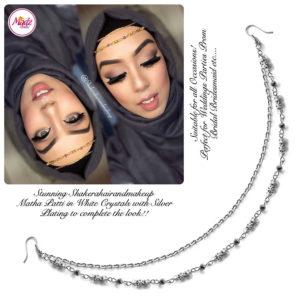Madz Fashionz UK: Shakerahairandmakeup Matha Patti Headpiece Hijab Jewels Silver and White Crystals