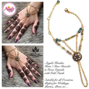 Madz Fashionz UK: Hennabyang Kundan Bridal Hand Chain, Bracelet Green Gold Crystals