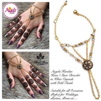 Madz Fashionz UK: Hennabyang Kundan Bridal Hand Chain, Bracelet White Gold Crystals