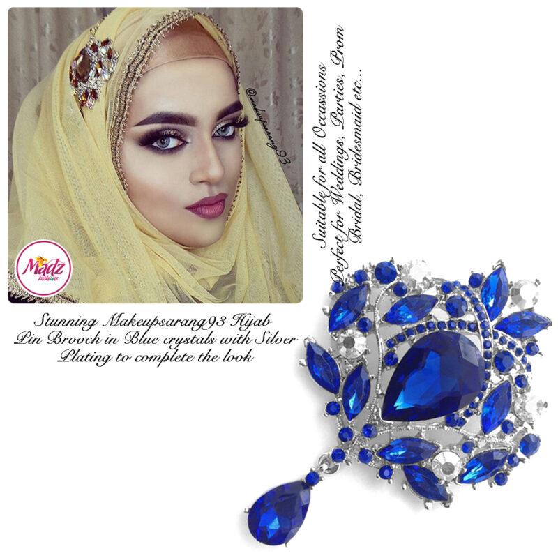 Madz Fashionz UK: Makeupsarang93 Elegant Brooch Hijab Pin Silver Royal Blue
