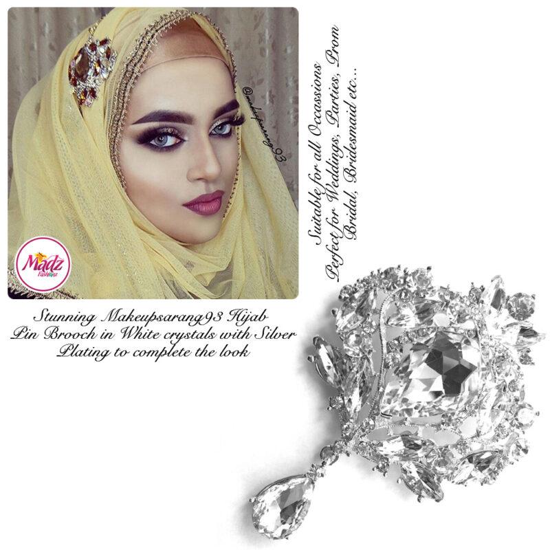 Madz Fashionz UK: Makeupsarang93 Elegant Brooch Hijab Pin Silver White