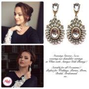 Madz Fashionz UK Simona Suciu Kundan Bridal Stud Earrings Gold White
