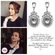 Madz Fashionz UK Simona Suciu Kundan Bridal Stud Earrings Silver White