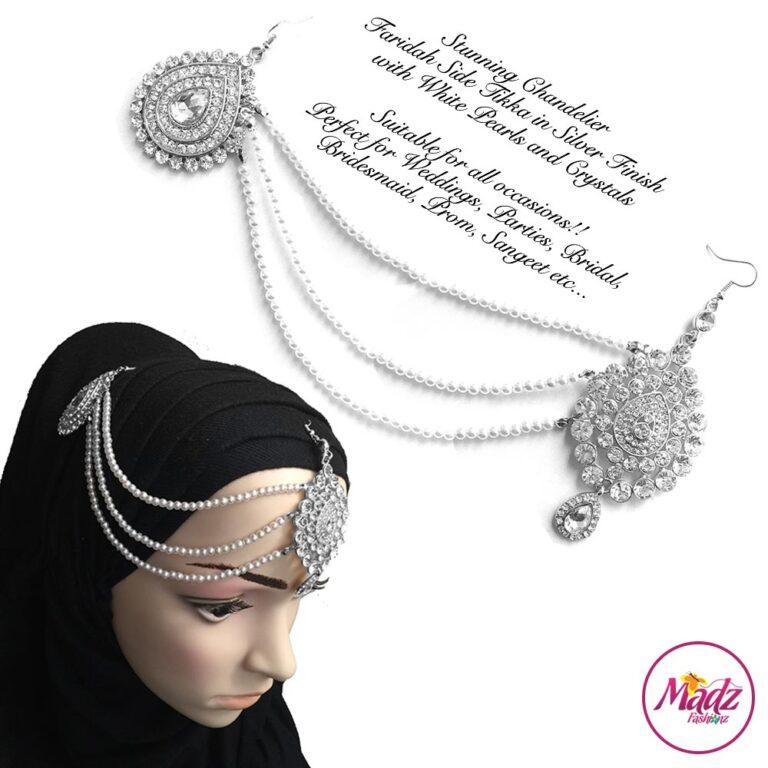 Madz Fashionz UK: Farida Silver White Bridal Side Tikka Headpiece