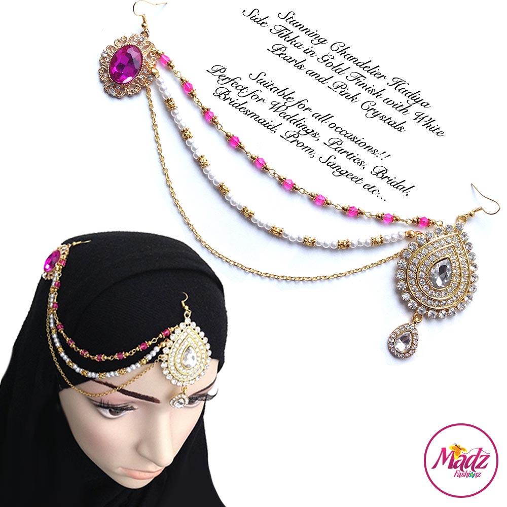 Madz Fashionz UK: Hadiya Gold Pink White Pearl Side Tikka Headpiece