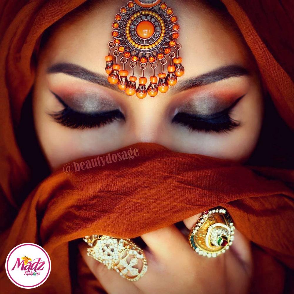 Madz Fashinz UK: Beautydosage Vintage Bridal Maang Tikka Gold Brown Champagne