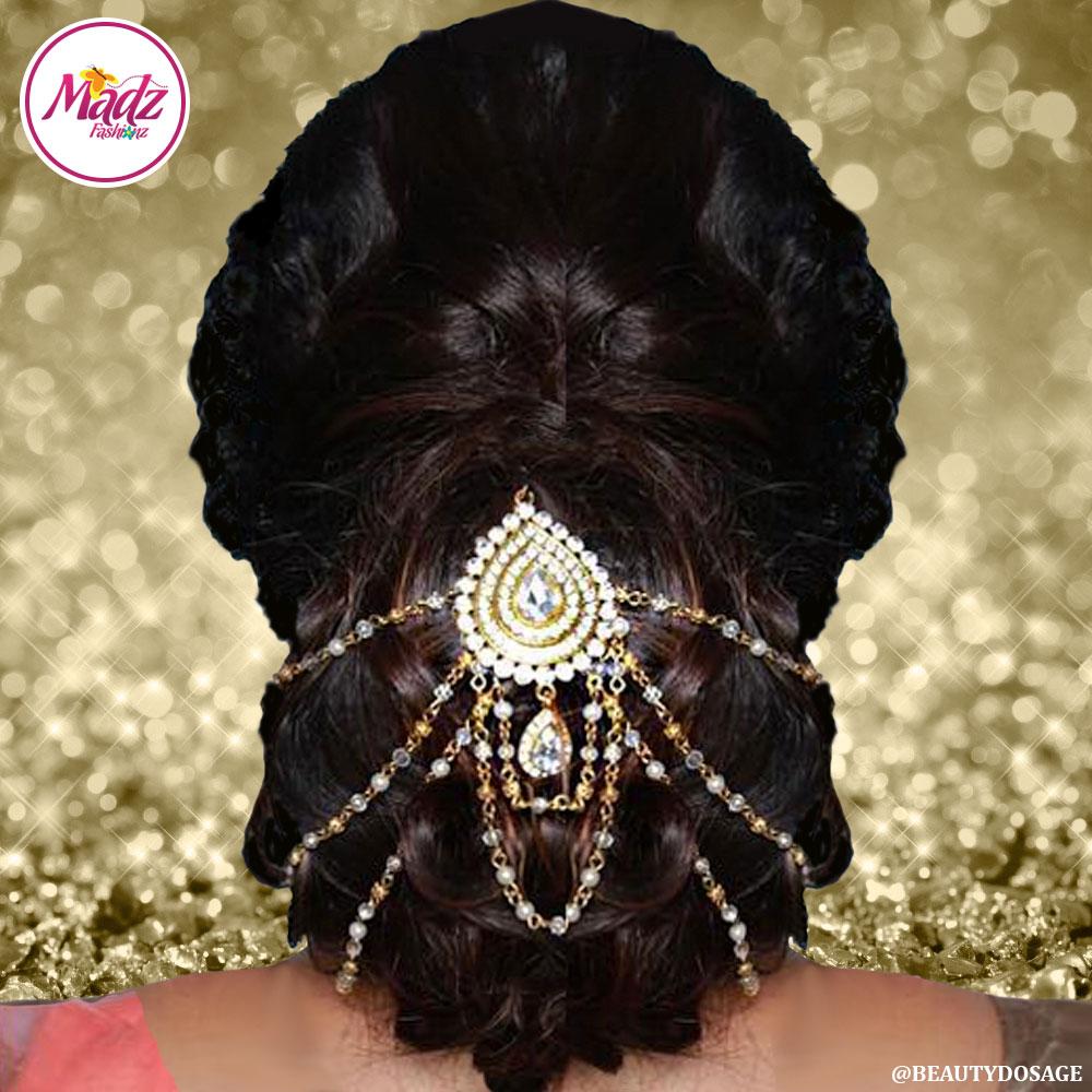 Madz Fashionz UK: Beautydosage Juda Bridal Hair Bun Headpiece Jodha  Gold White 1
