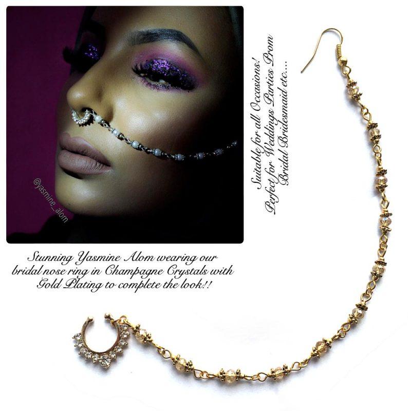 Madz Fashionz UK: Yasmine Alom Pearl Nose Ring Nath Indian Bullaku Nathu Gold Champagne