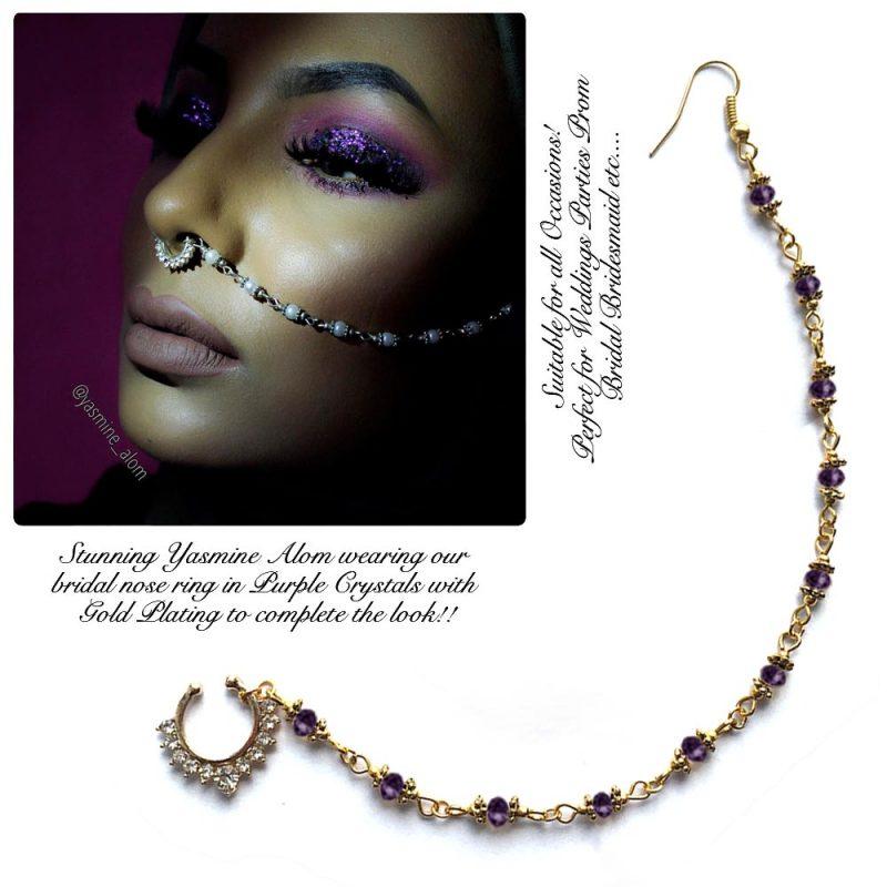Madz Fashionz UK: Yasmine Alom Pearl Nose Ring Nath Indian Bullaku Nathu Gold Purple