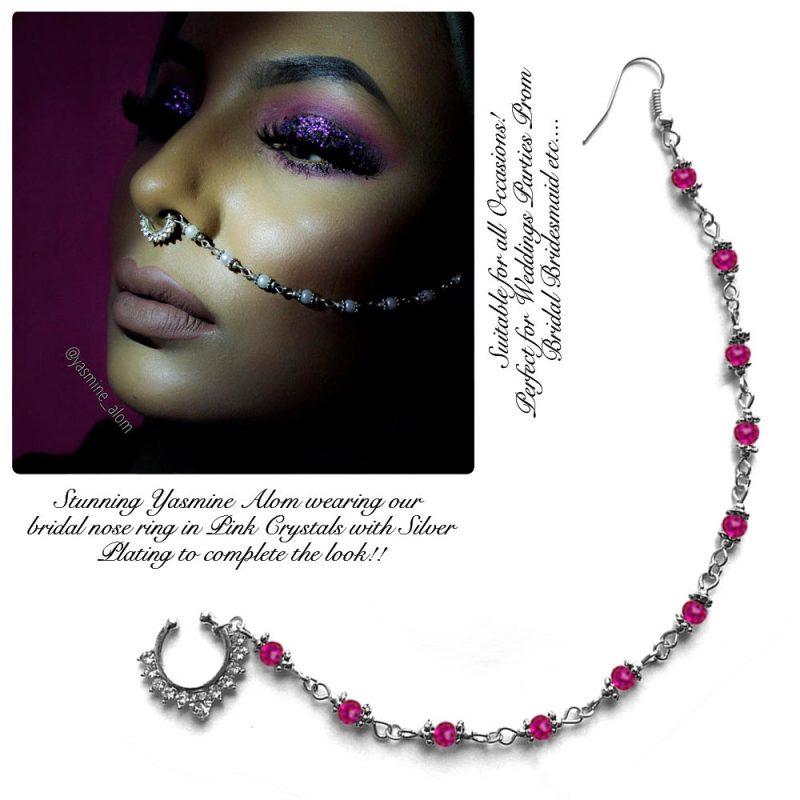 Madz Fashionz UK: Yasmine Alom Pearl Nose Ring Nath Indian Bullaku Nathu Silver Shocking Pink