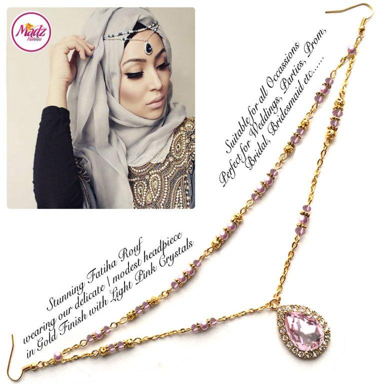 Madz Fashionz UK - Fatiha World Tear Drop Headpiece Gold and Light Pink