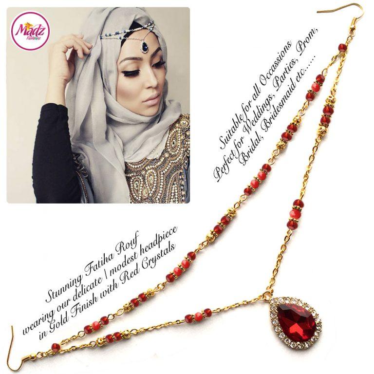 Madz Fashionz UK - Fatiha World Tear Drop Headpiece Gold and Red