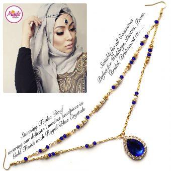Madz Fashionz UK - Fatiha World Tear Drop Headpiece Gold and Royal Blue