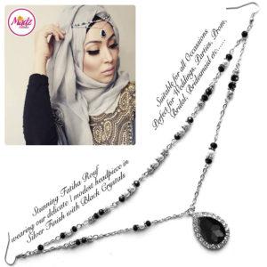 Madz Fashionz UK - Fatiha World Tear Drop Headpiece Silver and Black