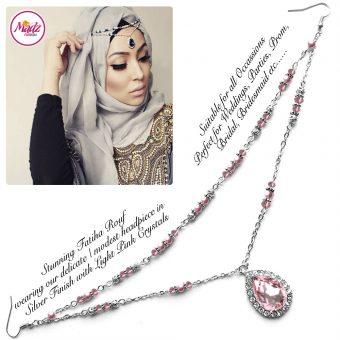 Madz Fashionz UK - Fatiha World Tear Drop Headpiece Silver and Light Pink
